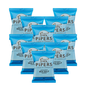 wholesale Pipers crisp Anglesey sea salt. 24 pieces of 40 grams packets of potato chips in blue pakcaging
