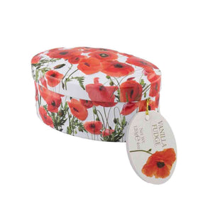 beautiful oval tin with poppy flowers containing luscious Gardiners of Scotland vanilla fudge