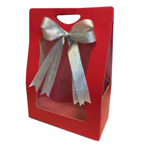 red gift carrier bag for customised hampers from Gourmet Grocery Specialty Online Store