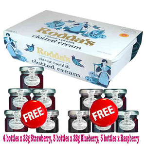 Rodda's Cornish Clotted Cream 453g + FREE 10 Bottles x 28g Tiptree Jams