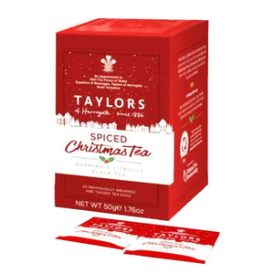 Red box of Taylors of Harrogate Christmas Tea in teabags format.
