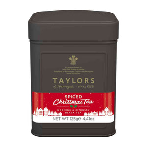 Taylors of Harrogate Spiced Christmas Tea Leaves in a black tin caddy, warming and citrussy black tea, perfect for the holidays!
