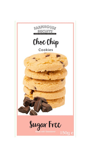 sugar-free chocolate chip biscuits in 150 gram box from Farmhouse Biscuits