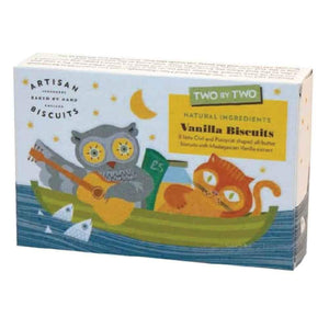 box of Artisan Two by Two Vanilla biscuits. box showing an owl and pussycat sailing the ocean on a boat