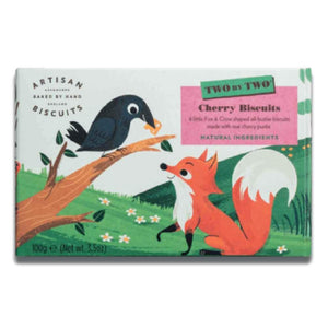 box of two by two cherry biscuits, with image of a fox outwitting a crow over a piece of cheese using flattery