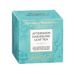 carton box of Taylors of Harrogate Afternoon Darjeeling Tea Leaves