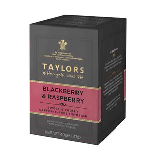 caffeine-free blackberry and raspberry infusion tea bags in box