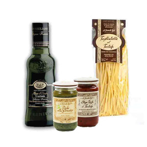 Truffle Pasta Set. Bottle of Basil Pesto Sauce;  Bottle of Red Truffle Tomato Sauce; Extra Virgin Olive Oil