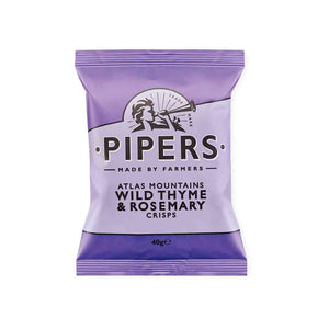 40 grams potato chips in purple packer. Pipers Crisp Wild Thyme and Rosemary Crisps