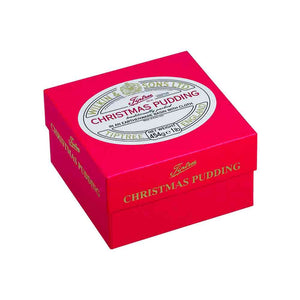 Tiptree Christmas Pudding in an earthenware basin with cloth