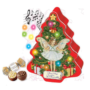 Di Costa Embossed Musical Magica Christmas Tree with Led Lights Tin (Red) - Milk Chocolate Pralines 100g