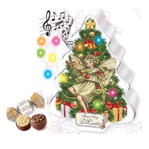 Di Costa Embossed Musical Magica Christmas Tree with Led Lights Tin (White) - Milk Chocolate Pralines 100g