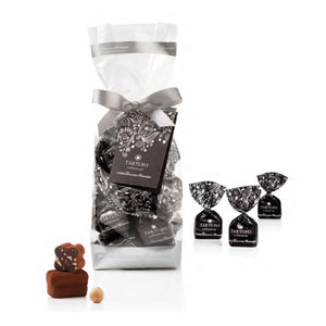 200 grams pack of Antica Torroneria Piemontese extra dark chocolate truffles in transparent packaging with ribbon and tag
