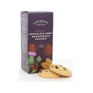 Cartwright & Butler Chocolate Drop Shortbread Rounds in Box 200g