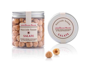 Antica Torroneria piemontese Salted Hazelnuts in clear small jar