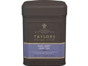 Earl Grey tea leaves in tin caddy