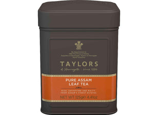 pure assam tea leaves in metal caddy Taylors of Harrogate
