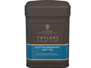 metal caddy of taylors scottish breakfast leaf tea