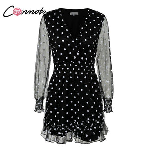 27bcbb574d6a Conmoto Lace Mesh Long Sleeves Dress Black V-Neck Polka Dot Dress Women  2019 Summer