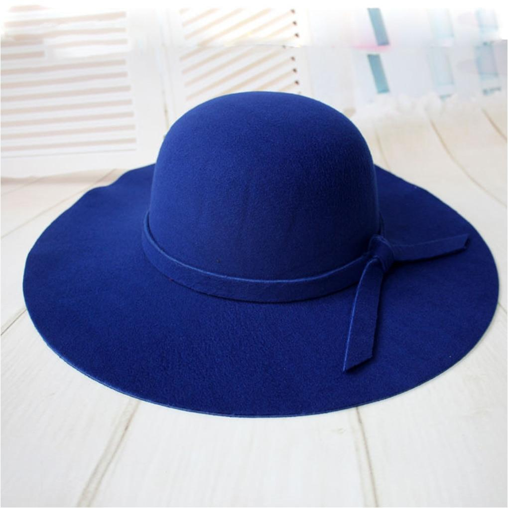 8640cbfd ... Load image into Gallery viewer, Girls Vintage Retro Kids Child Hats  Polyester Felt Crushable Wide ...