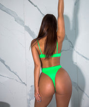 Load image into Gallery viewer, Neon Green Split Swimsuit