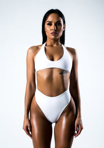 White Split High Bikini Swimsuit