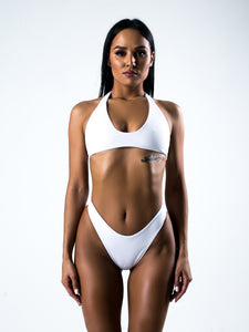 White Split Tight Bikini Swimsuit