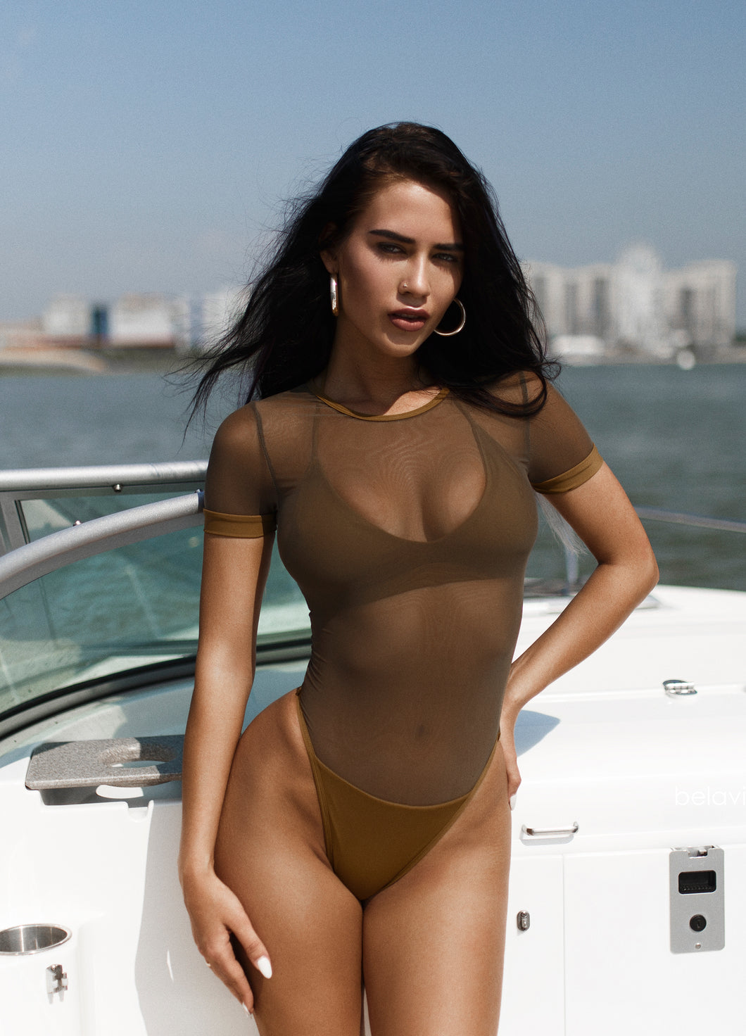 Khaki Triple Net Premium Swimsuit