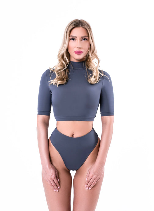 Grey Split Swimsuit