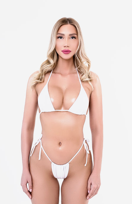 White Split Mini Swimsuit