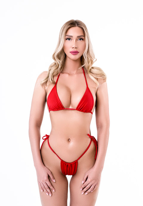 Red Split Mini Swimsuit