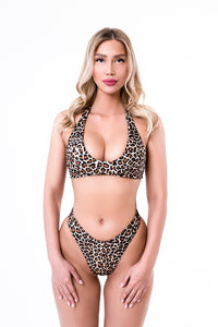 Leopard Split Tight Bikini Swimsuit