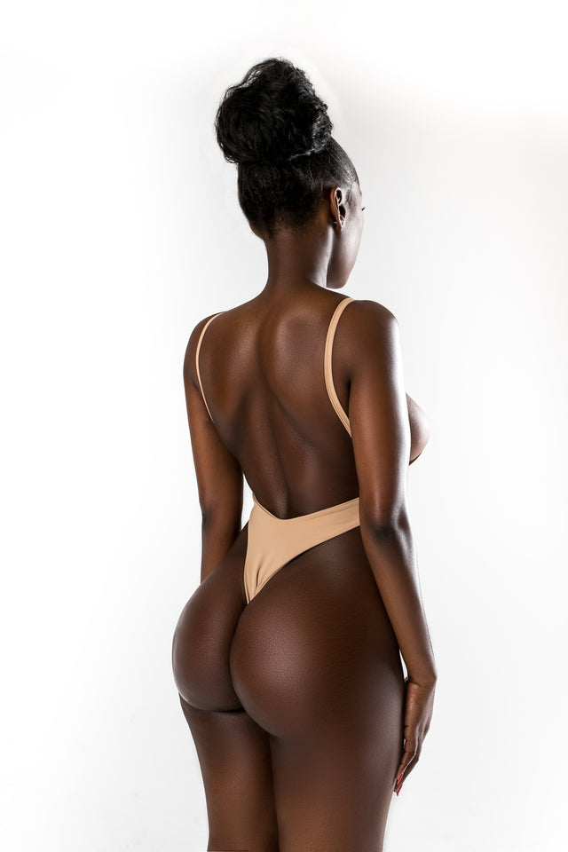 AnikinA beige one-piece swimsuit