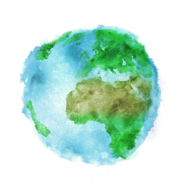 Small Planet Earth Watercolor Logo