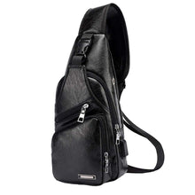 Load image into Gallery viewer, Men's Leather Sling Bag + Waterproof + USB Charging Port