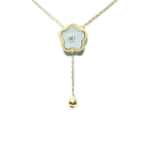 BecKids 14k Yellow Gold Mother of Pearl Flower Dangler Necklace