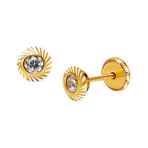 BecKids 14k Yellow Gold Diamond Cut CZ Stud Earrings