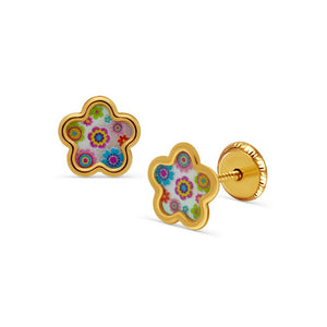 BecKids 14k Yellow Gold Colores Flowers Stud Earrings