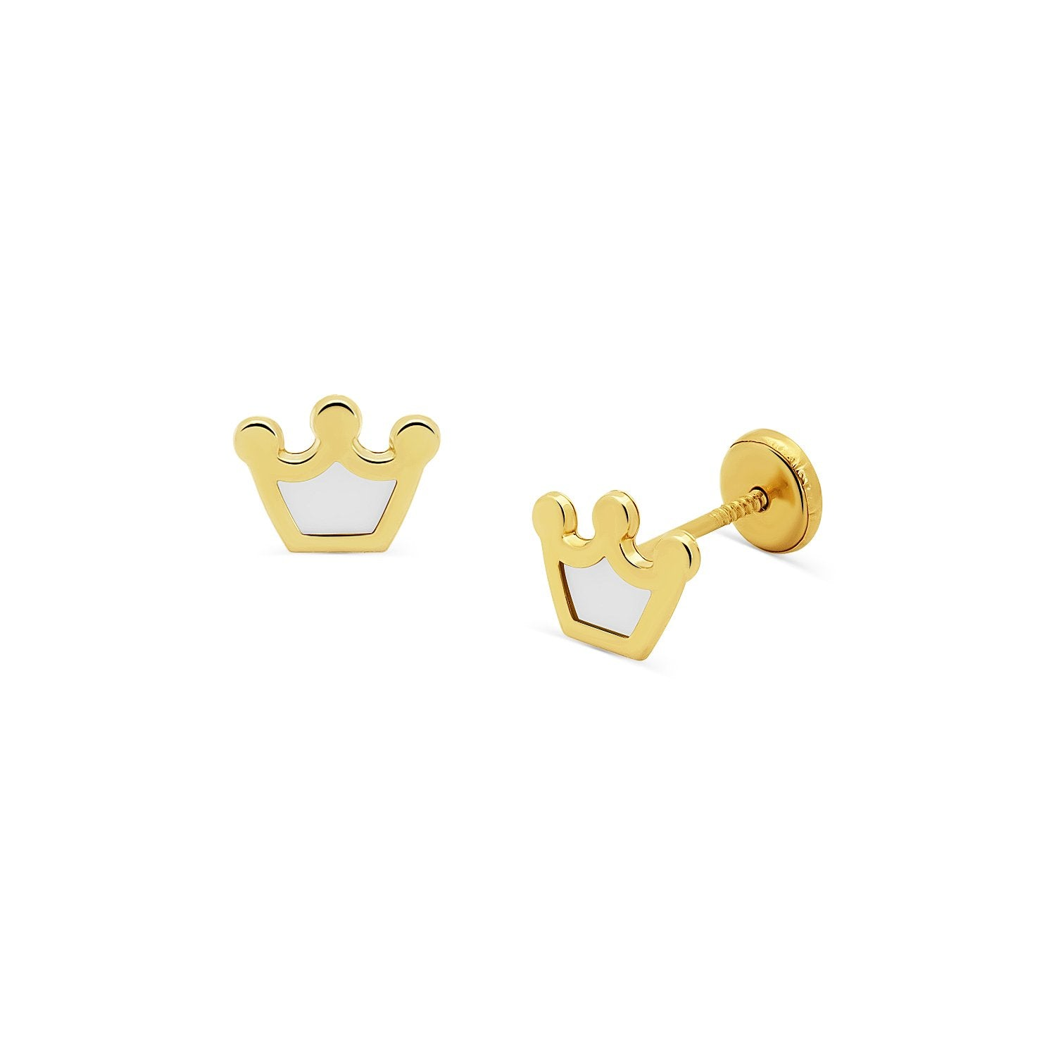 Mother of Pearl Crown Stud Earrings