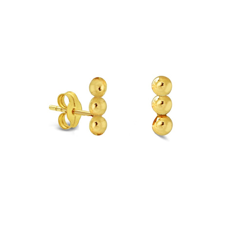 Three Line Ball Stud Earrings