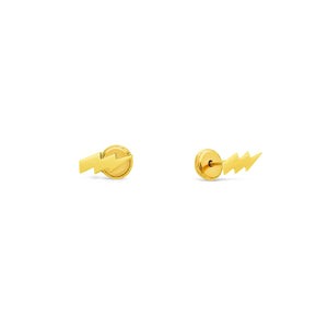 Lightning Bolt Stud Earrings - Screw Back Post
