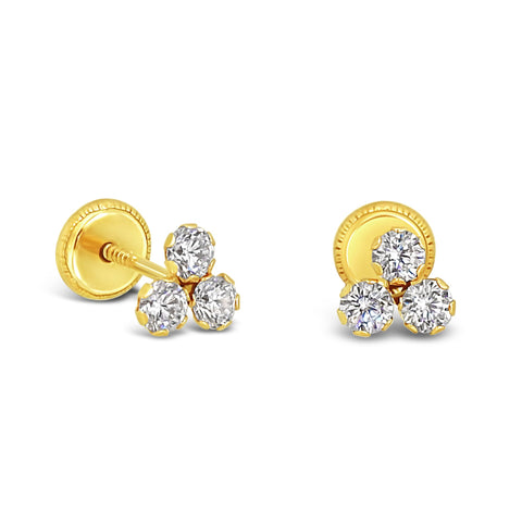14k Yellow Gold Tri CZ Stud Earrings