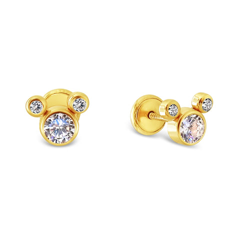 14k Gold Mickey Ears Stud Earrings - Screw Backs
