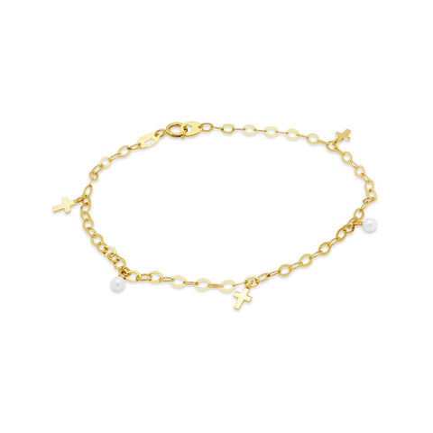 14k Gold Crosses and Pearls Bracelet