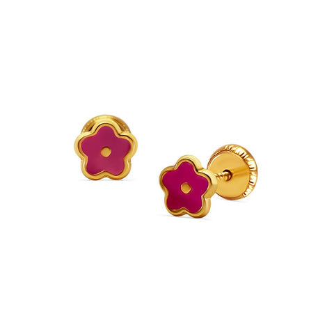 BecKids 18k Gold Fuccia Daisy Flower Stud Earrings