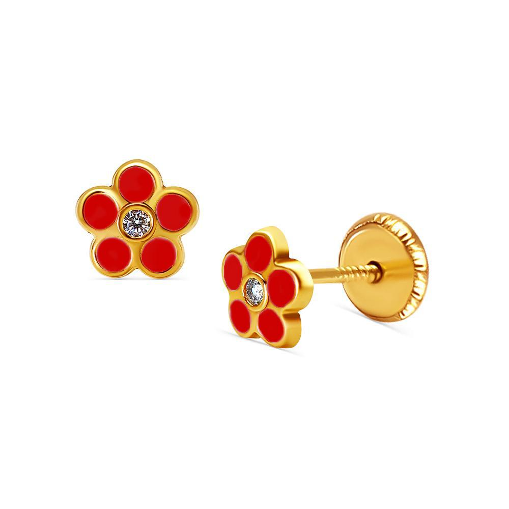 BecKids 18k Gold Sparkling Red Daisy Flower Stud Errings