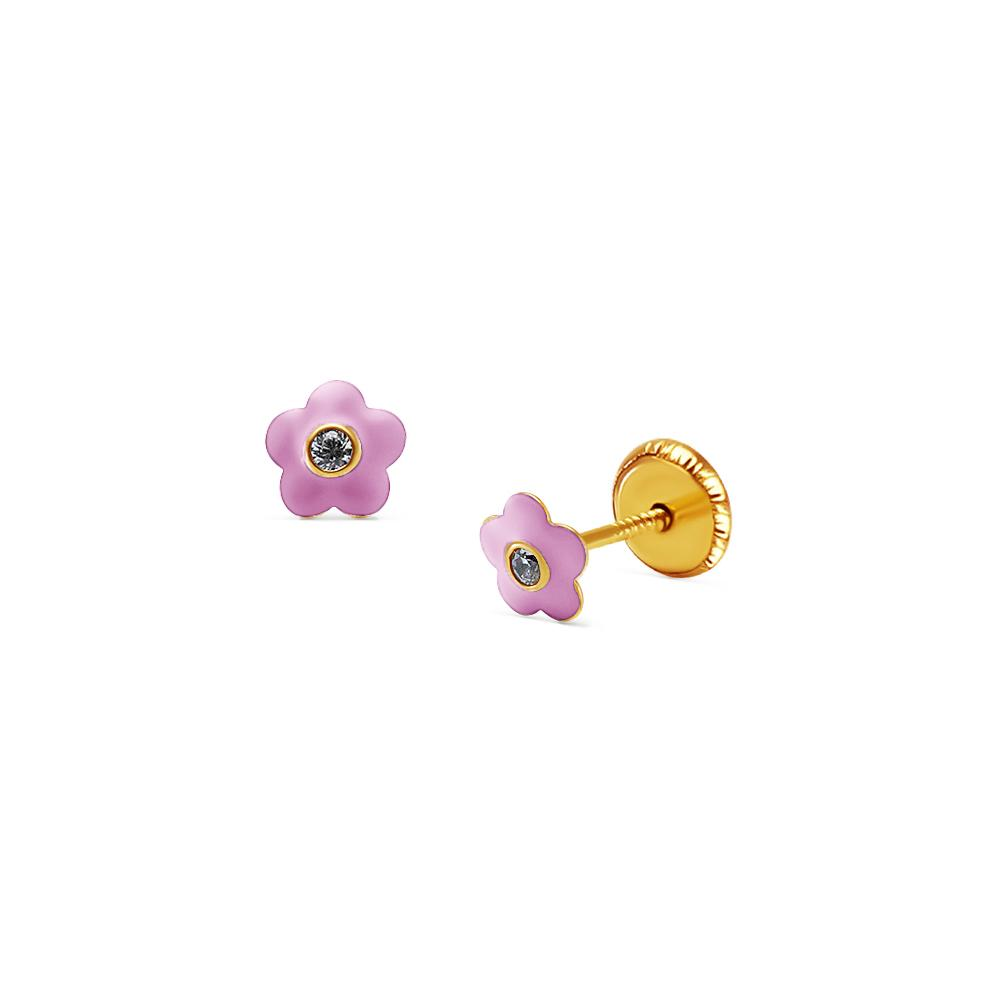BecKids 18k Gold Baby Pink Bombay Flower Stud Earrings