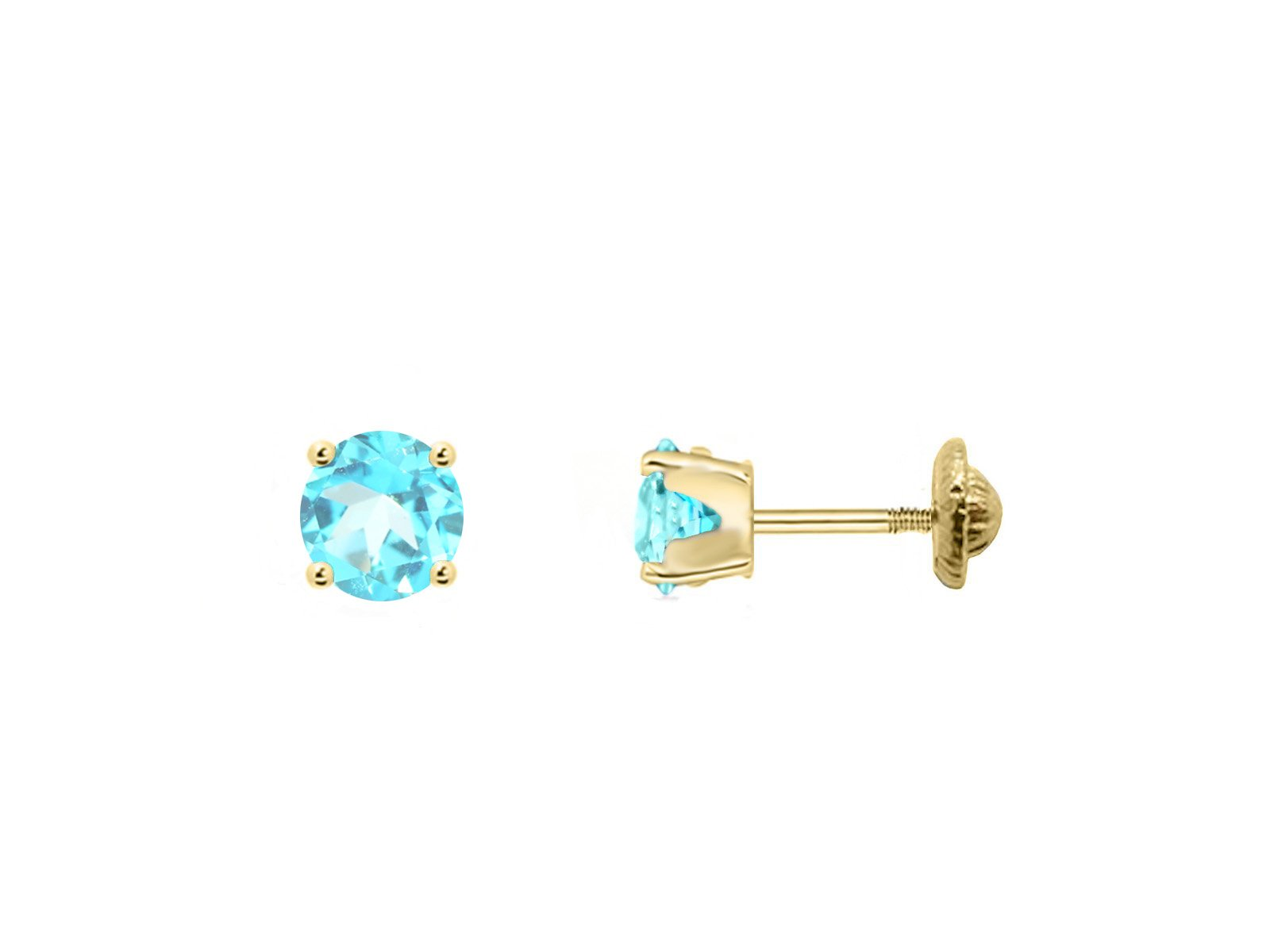 BecKids 18k Gold Mini Blue Topaz Stud Earrings, 3mm