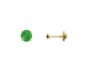 BecKids 18k Gold Mini Green Ruby Stud Earrings, 2mm