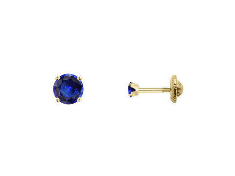 BecKids 18k Gold Mini Blue Sapphire Stud Earrings, 2mm